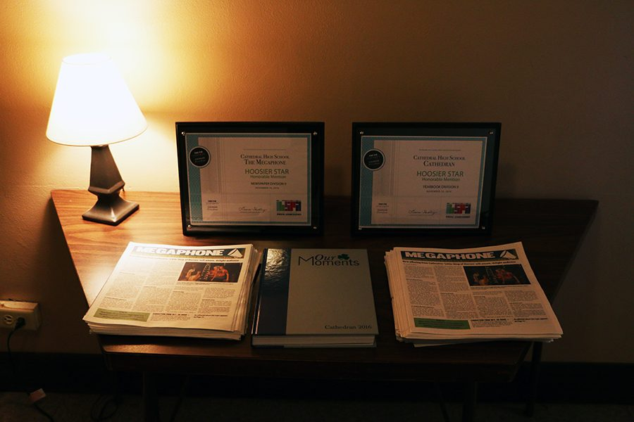 Outside+Loretto+2212%2C+Hoosier+Star+awards+for+the+newspaper+and+yearbook+are+displayed.