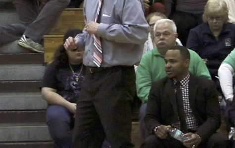 Head Coach Jason Delaney on the sidelines against Franklin Central on Jan. 28. The Irish won 65-60.