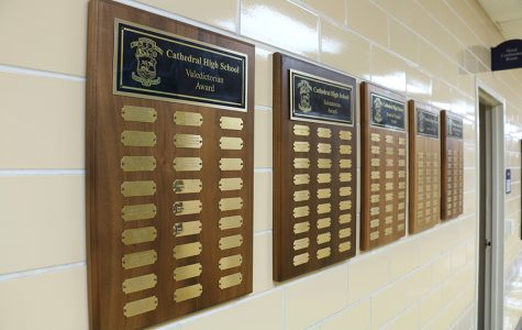 Each valedictorian is placed on a plaque in the administration hallway.
