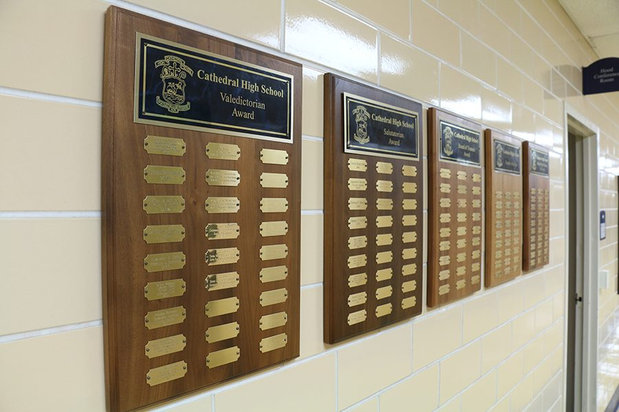 Each+valedictorian+is+placed+on+a+plaque+in+the+administration+hallway.