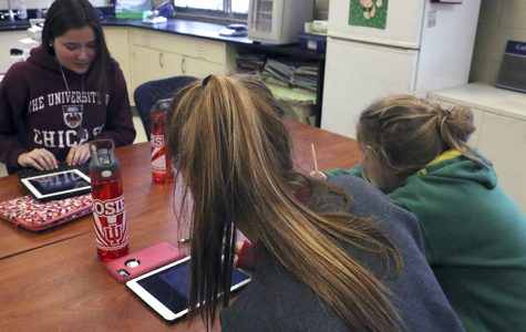 Seniors Emily Getz, Katie Hoffman and Kelly Barry take notes in AP Environmental Science. AP Environmental provides another opportuinity for students to learn new ways to preserve and enhance the environment.