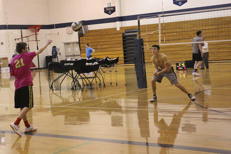The+Men%27s+volleyball+team+practices+on+March+9th+in+the+Welch+Activity+Center.