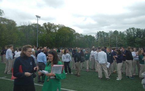 Students line up according to their irish counties on the football field.