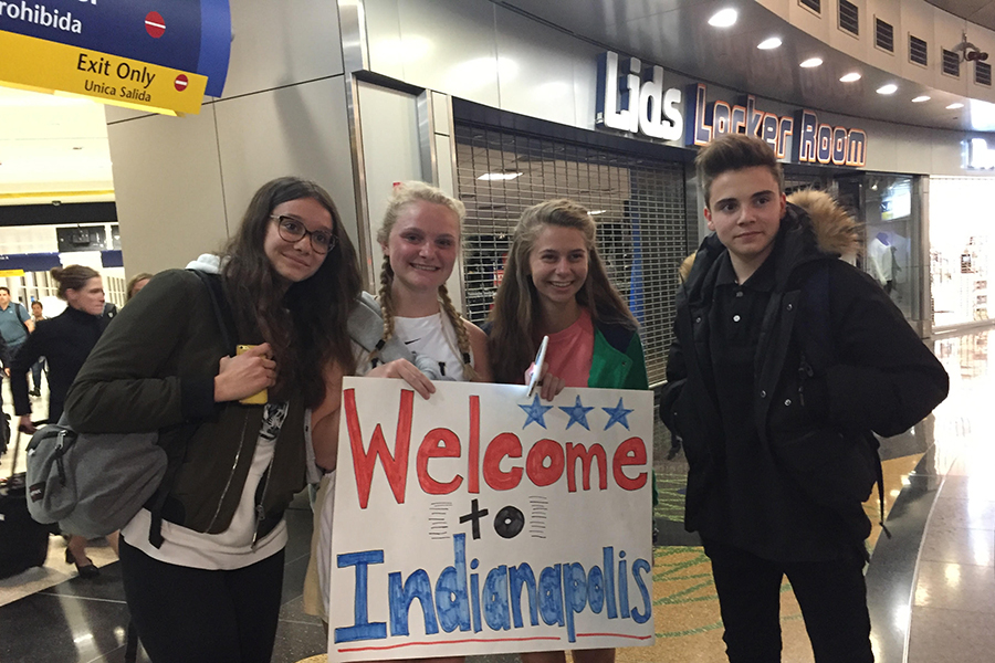 Students welcomed their guests from France at the Indianapolis International Airport.