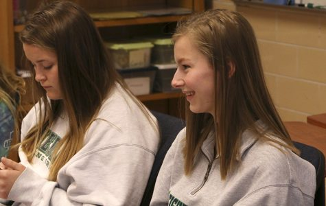 "Juniors Hannah Tuttle and Helen Queis talk with other students in their county on Friday March 24 during flex. ""(In the U.S.), school is more like a community, more family,"" Queis said."