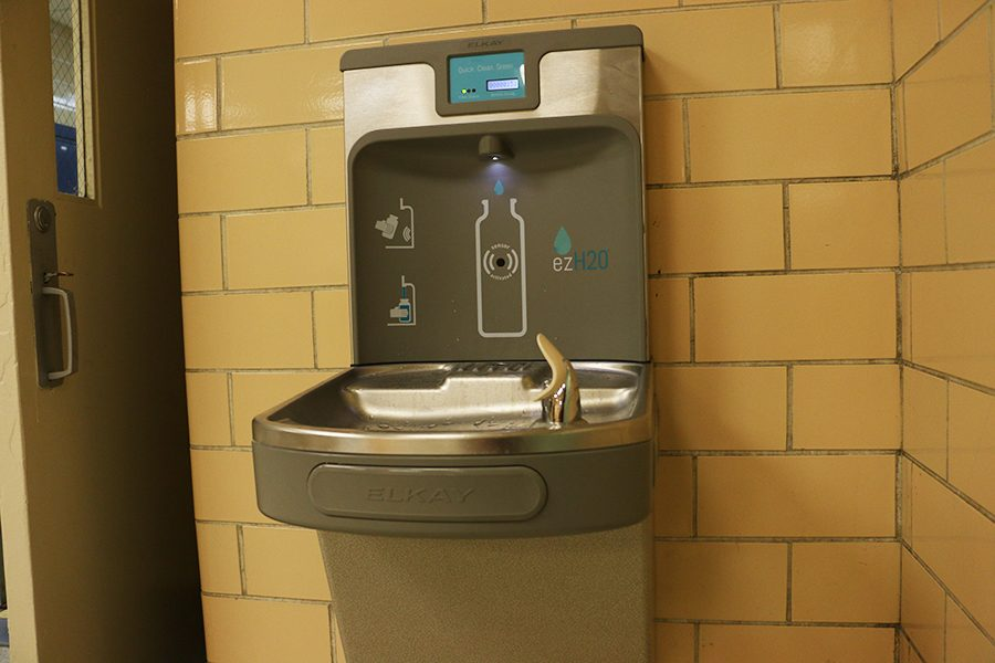 A new water dispenser was installed near the administration hallway.