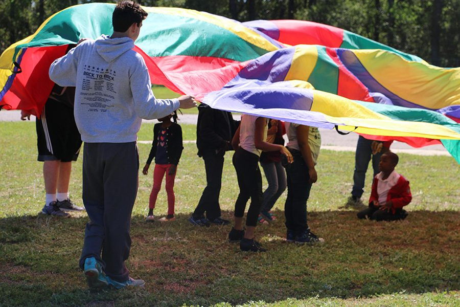 Freshman Gabe Landeros participates in the field day activities.