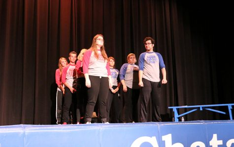 The ComedySportz team will wrap up its season April 28 in the auditorium. During the April 27 match at Bishop Chatard, senior Claire Plump takes the stage.
