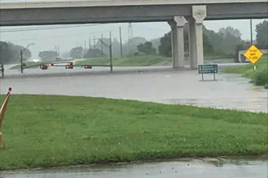 Mrs. Brittany Evans '05 posted this image of a flooded Texas interstate on social media.
