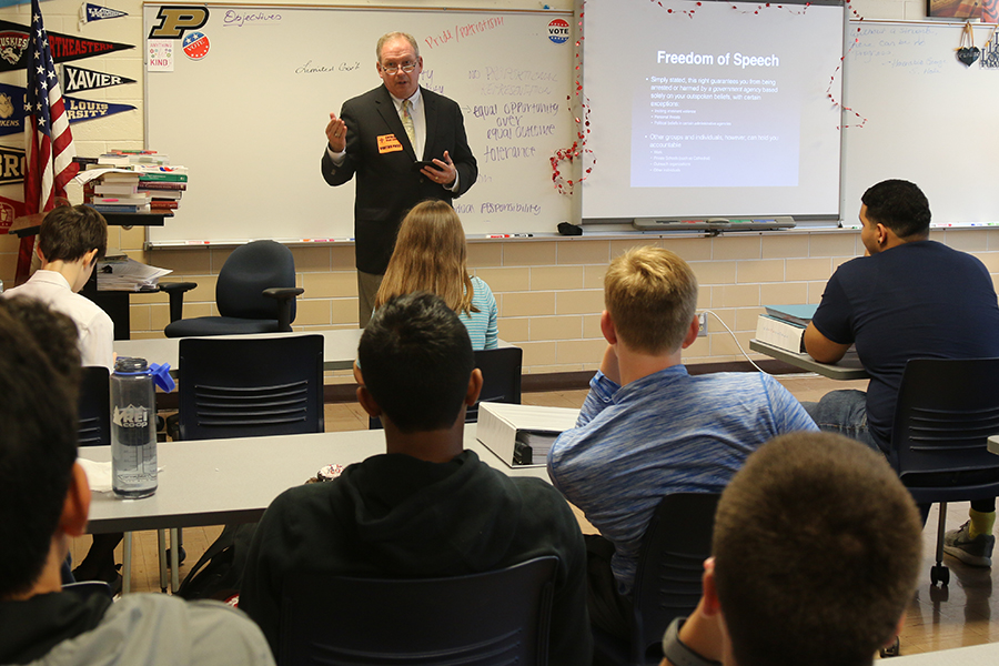 Court of Appeals Judge Mr. Paul Mathais speaks to economics students and We the People team members during flex on Sept. 18.