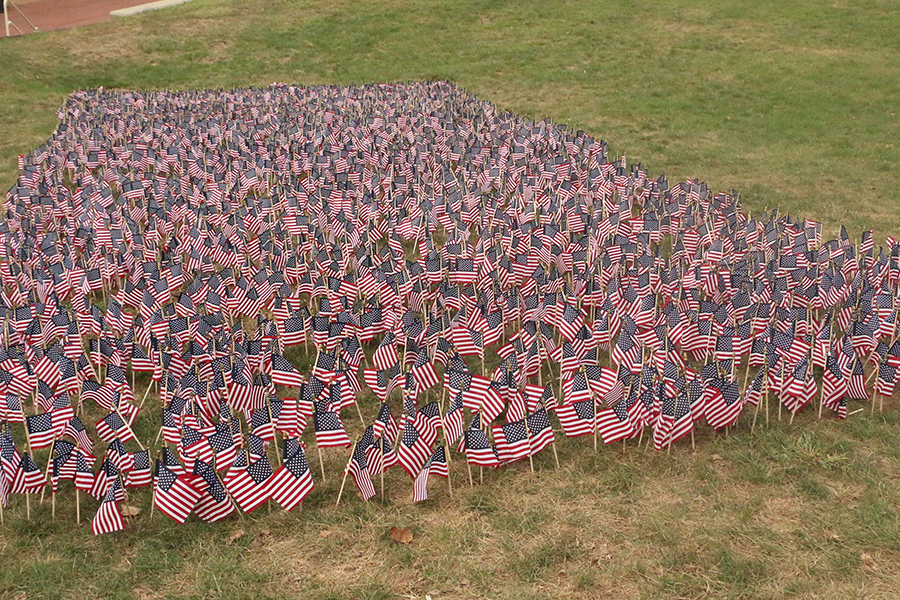 One American flag for every victim of the 9/11 terrorist attacks has been placed in the courtyard in front of Loretto Hall.