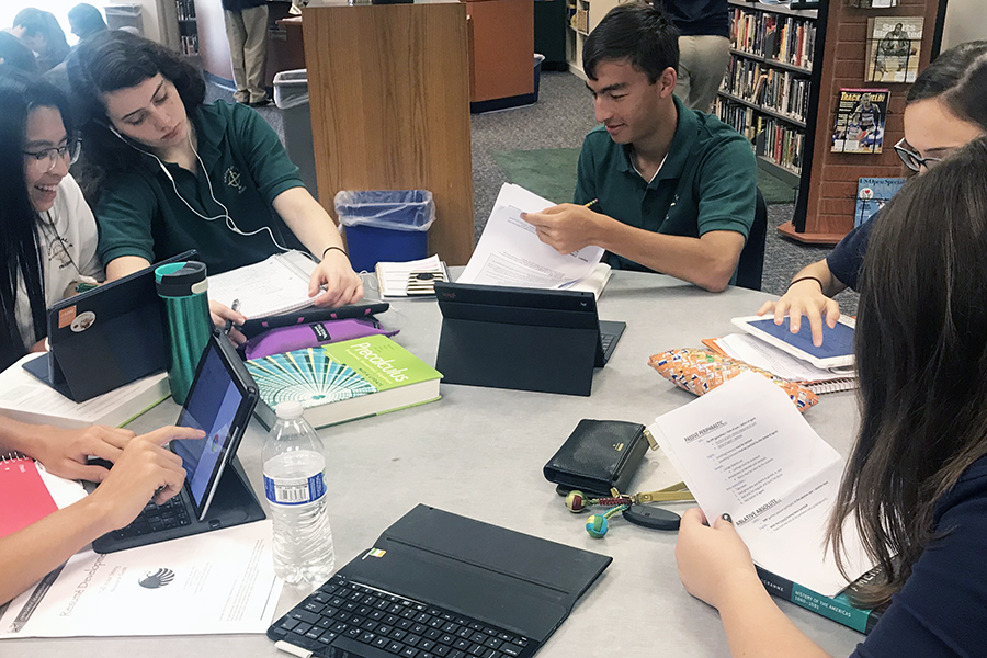 During Period C on Sept. 27, students gathered around a table to work on assignments. The library is an even more popular place for students to gather during flex.