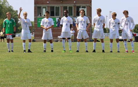 The men's soccer team, under the direction of Head Coach Mr. Whitey Kapsalis, was introduced at a recent match.