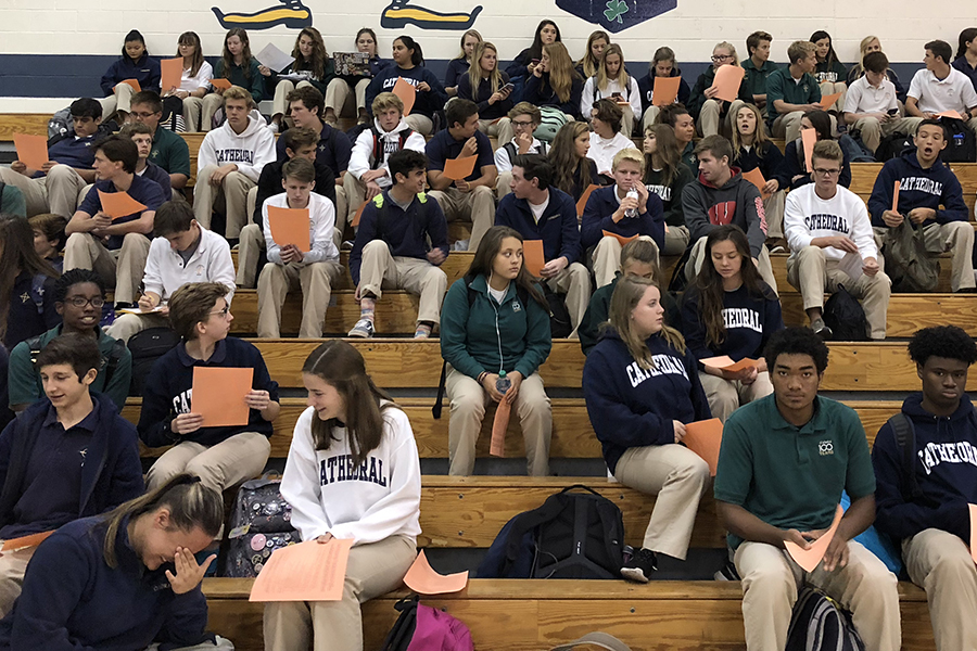 Students attend a PSAT information meeting in the Welch Activity Center. Counselors provided information to help test-takers prepare for the Oct. 11 PSAT.