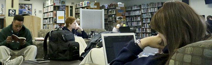 Students study in library as first quarter comes to an end.