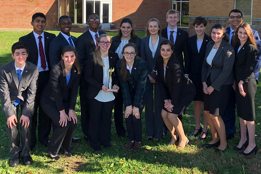 At the Franklin Central annex on Nov. 9, members of the We the People team gather after the Regional competition.