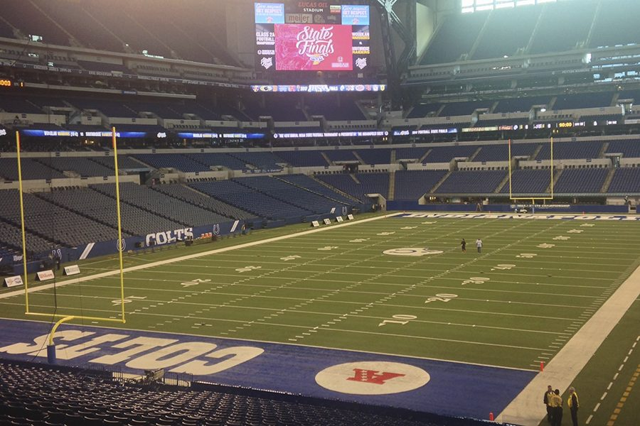 The Indiana High School Athletic Association tweeted this image from Lucas Oil Stadium, the site of the football State Finals Nov. 24 and Nov. 25.