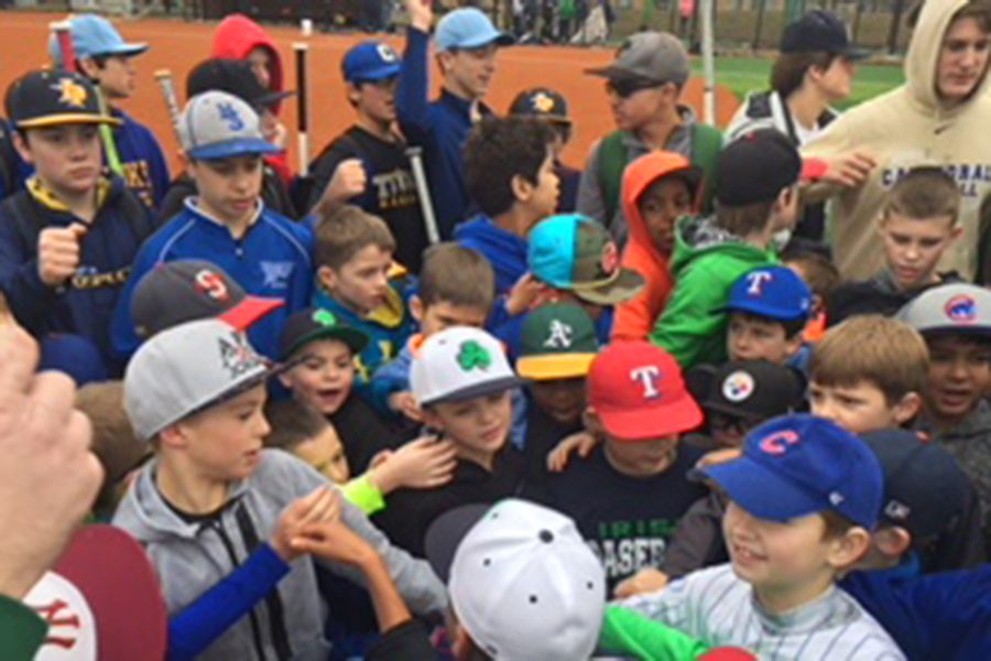 Participants gather at the start of one of the sessions at last year's Christmas baseball camp.