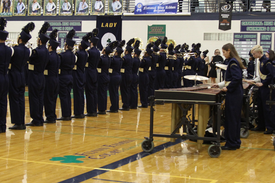 At least year's Open House, the marching band performed the school song in the Welch Activity Center.