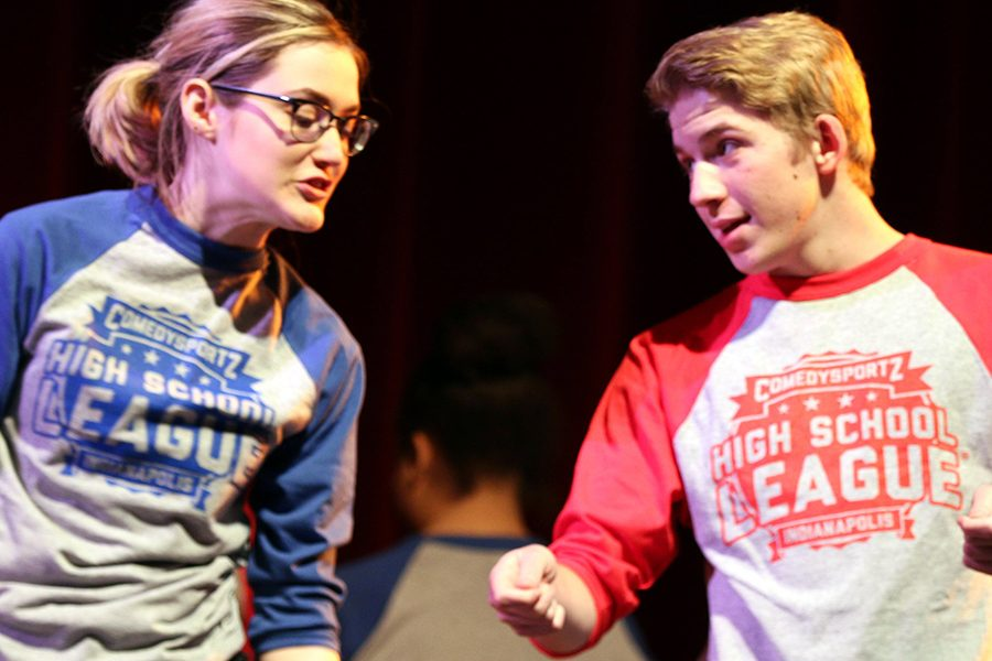 Seniors Lillian Moffatt and Ethan Gogel participate in one of last year's ComedySportz High School League events.