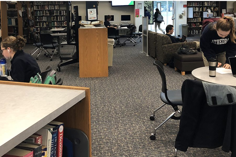 At 11 a.m. on Jan. 24, the library provided a warm and safe place for students  on campus who were waiting for road conditions to improve or their parents to pick them up after classes were delayed and then canceled.