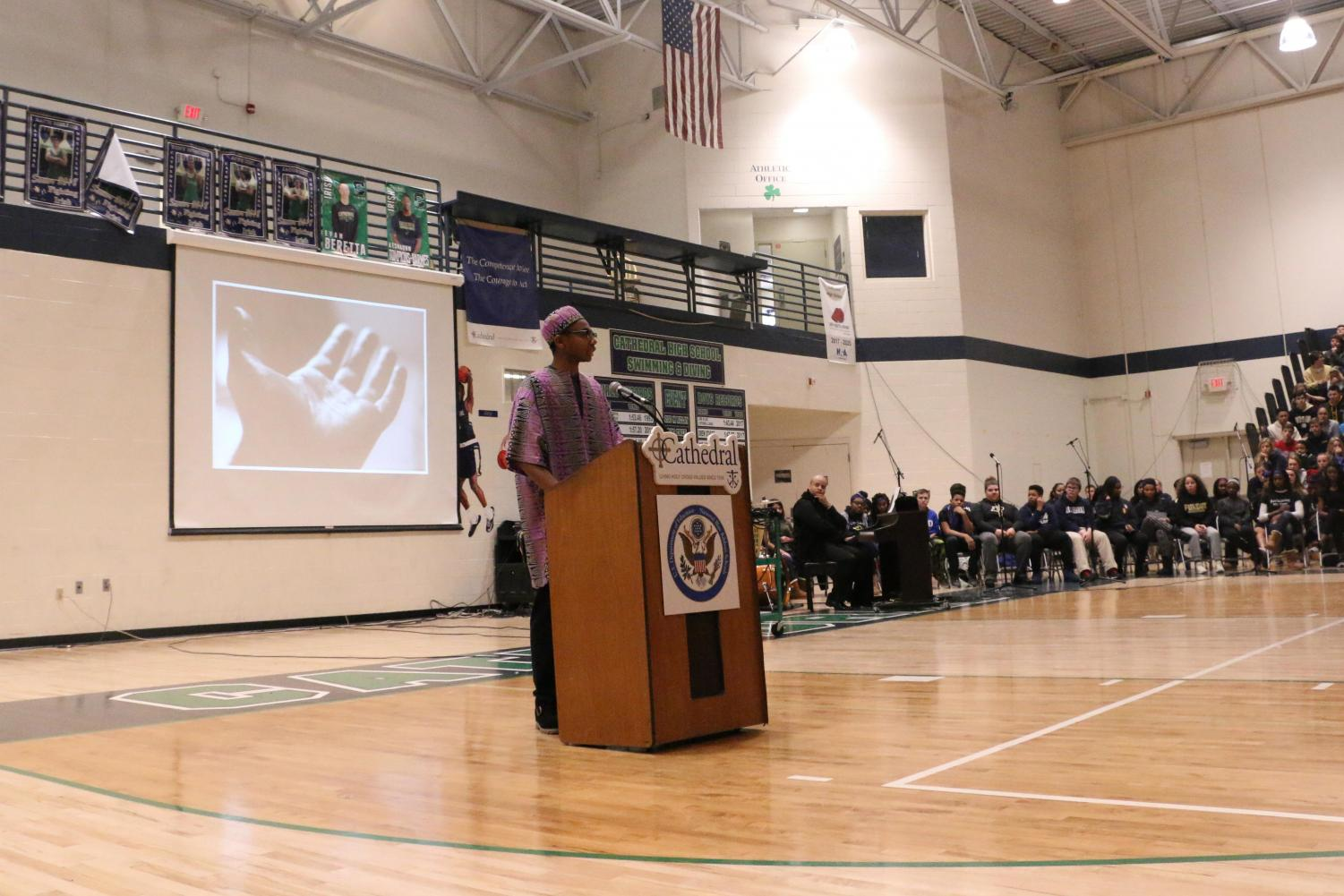Senior Gabe Ratcliffe provided an insightful and powerful presentation at the Black History Month assembly on Feb. 5.