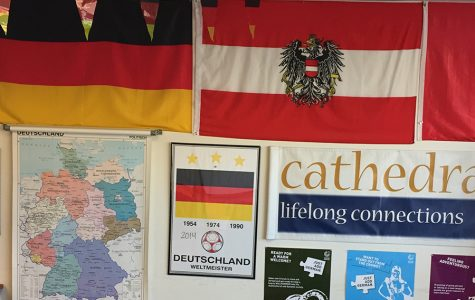 Posters decorate the German classroom on the second floor of Kelly Hall.