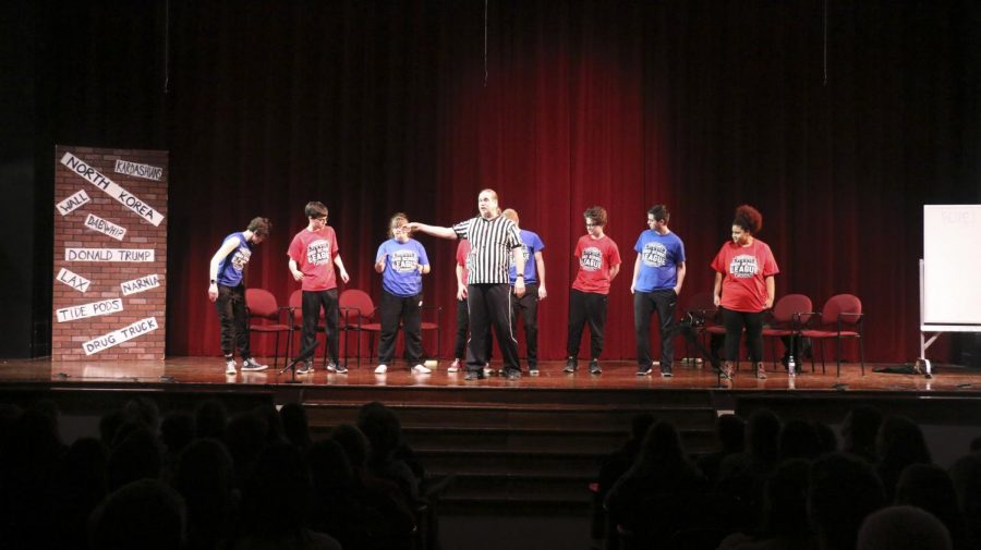 ComedySportz+competes+in+an+intramural+home+match+in+the+auditorium.+