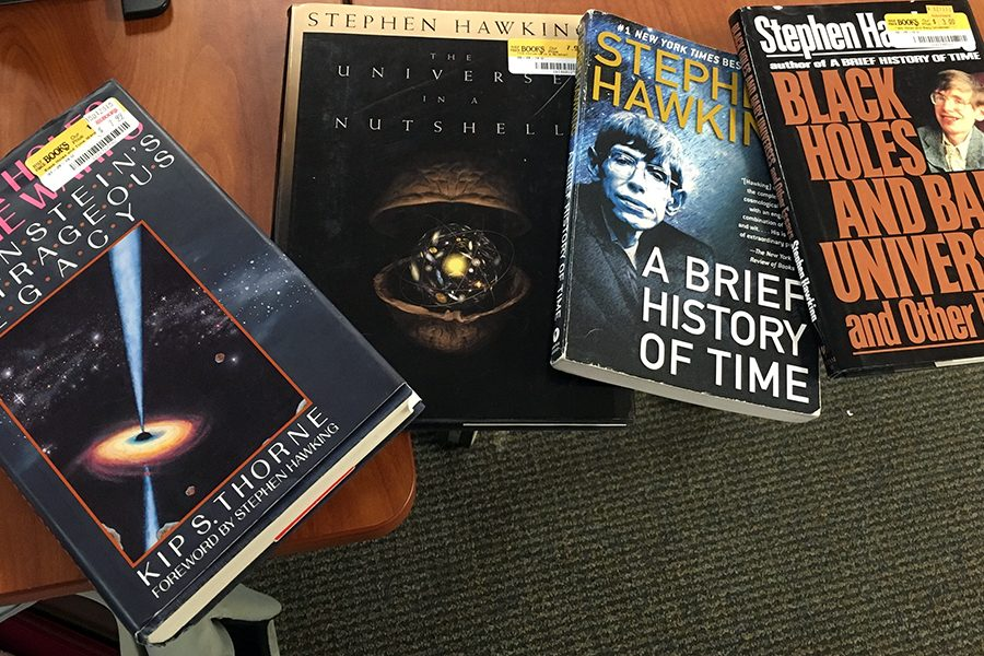 Books by and about Stephen Hawking are part of science teacher Mr. Adam HIbshman's classroom library.