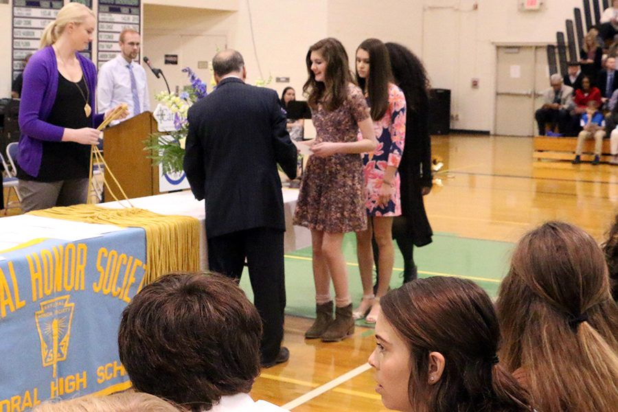 New members were inducted into the National Honor Society at last year's ceremony. Class of 2019 inductees will participate in  their ceremony March 25 in the Welch Activity Center.