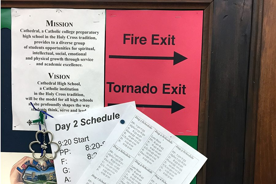 A sign on a bulletin board in a Loretto classroom directs students to their safe location during severe weather.