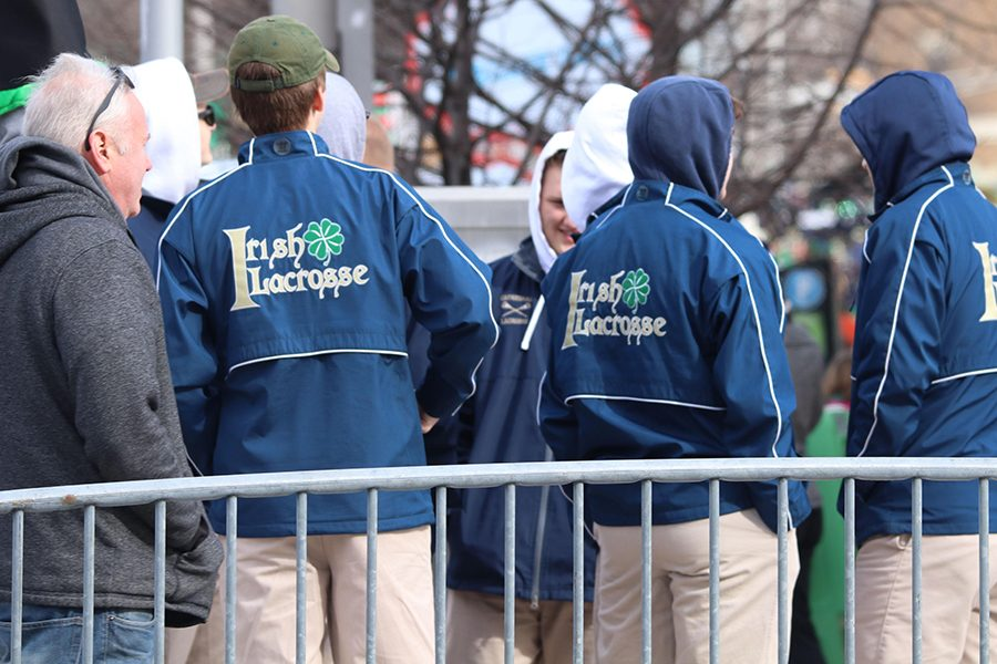 Members of the men's lacrosse team marched in the St. Patrick's Day parade in Downtown Indianapolis. The team will be in action this week.