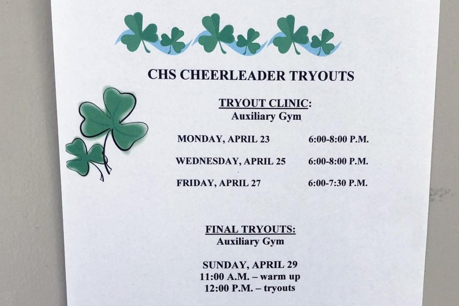 Signs around campus promote cheerleading clinics and tryouts.