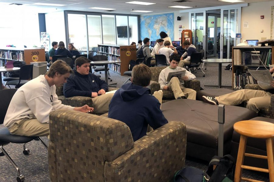 Students fill the library during C period on April 18.