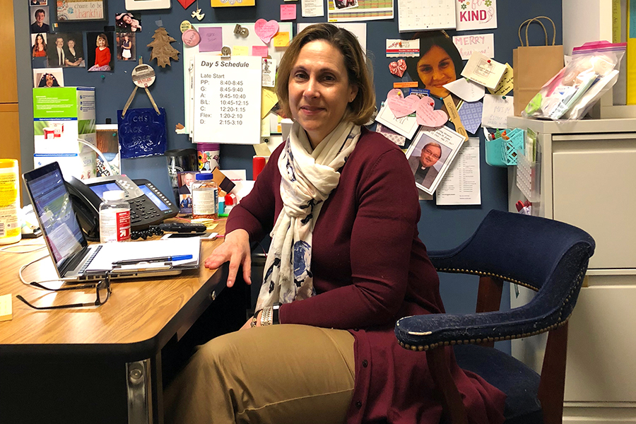 School nurse Mrs. Susan Mourouzis in her office during A period on April 5.