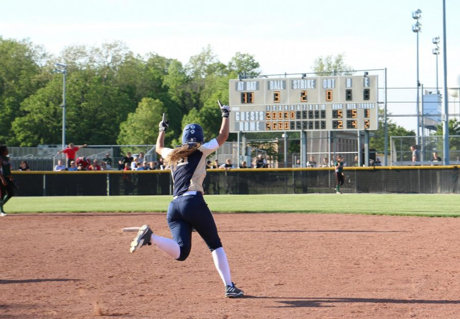 The softball team in action last season.