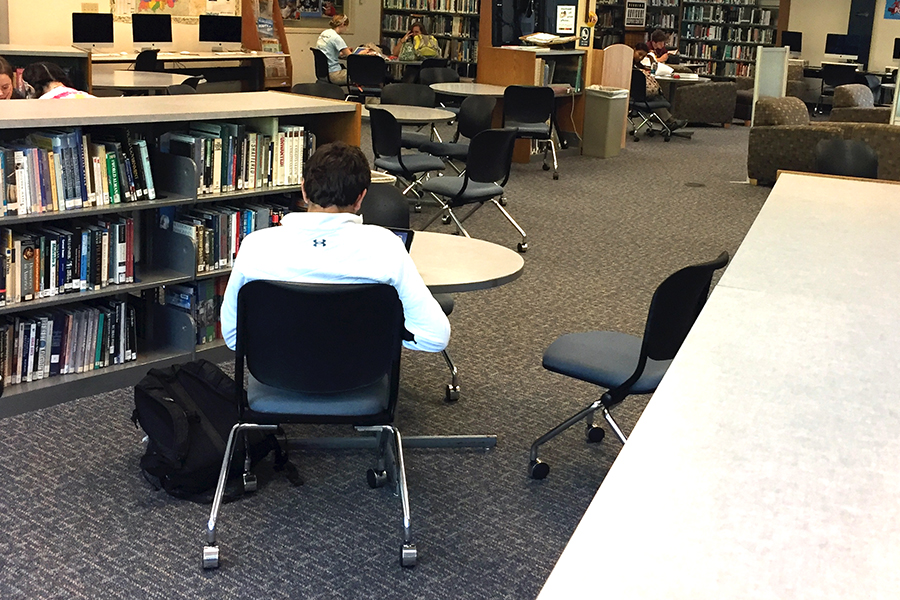 The library was quiet during alpha period on May 11, but no doubt the pace will pick up as final exams approach.