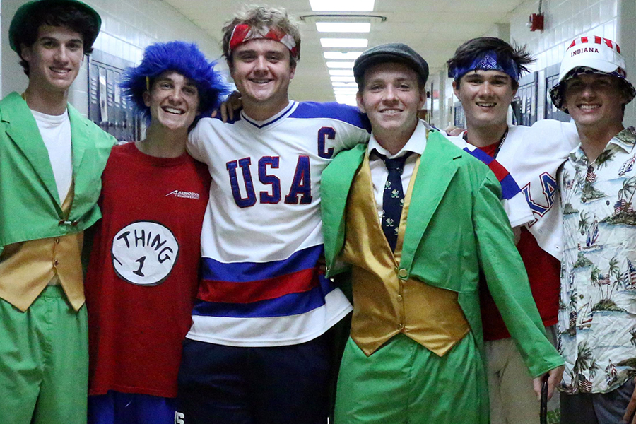 Michael McNulty, third from right, just a few moments before he was introduced as the school's newest leprechaun.
