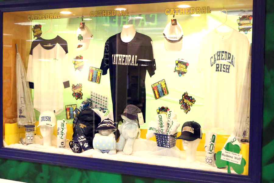 The bookstore/spirit shop is located in the cafeteria in the basement of Kelly Hall.