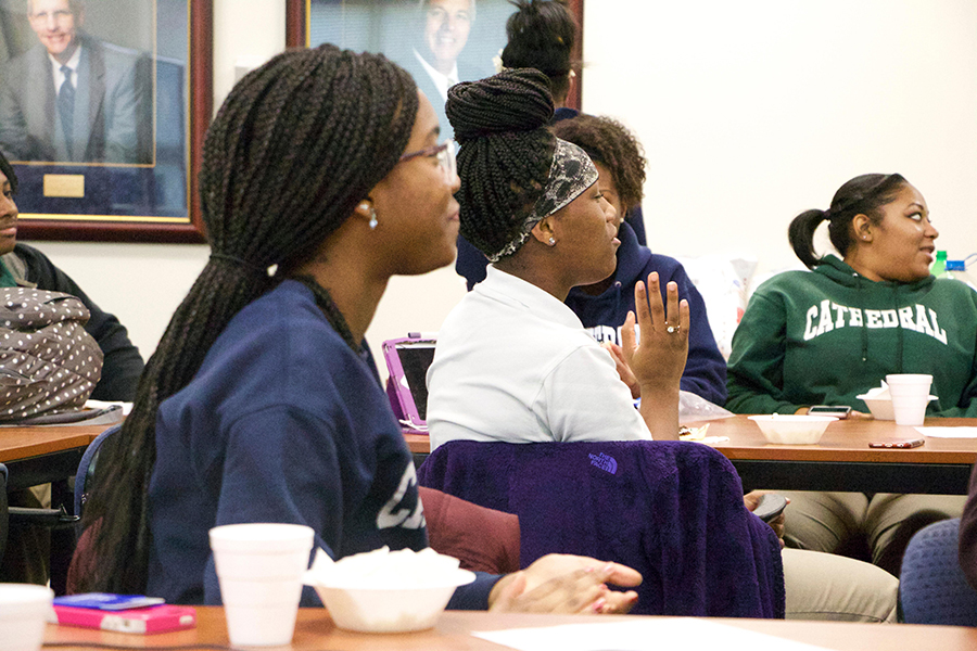 Numerous school groups, such as the Black Student Union, shown meeting last year, will have information available at the annual student activities far.