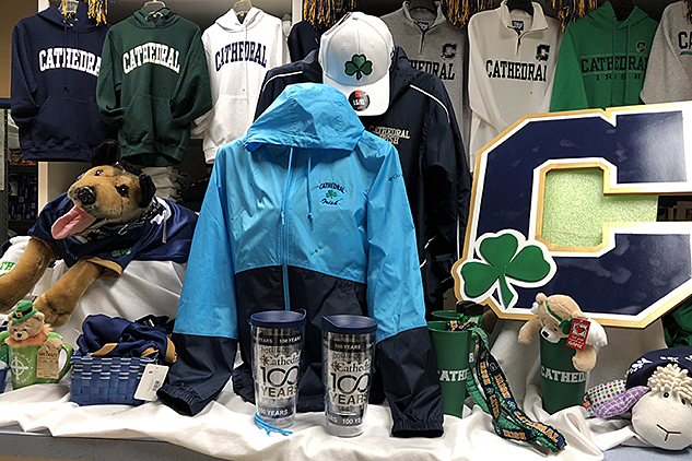 The bookstore/spirit shop is located in the cafeteria and is open on school days from 7:30 a.m. to 1:30 p.m.