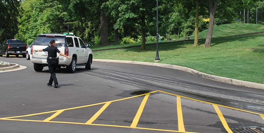 The circle at the top of the Hill was repaved and restriped as one of several summer maintenance projects.