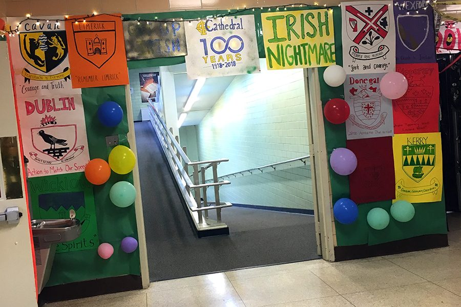 Decorating the hallways is just one of the annual Homecoming traditions.