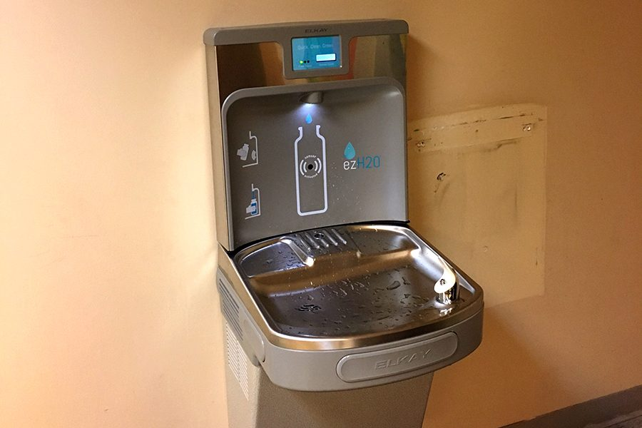 A water bottle refill station has been installed on the second floor of Loretto.