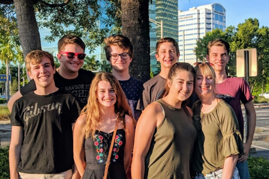 Qualifiers at the national speech and debate national tournament June 14-21 in Fort Lauderdale, Florida take a break between sessions. Their appearance marked the seventh straight national qualification for the Irish team.