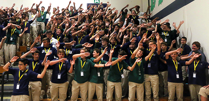 During the first semester, each class participates in a Mass during the school day. Earlier this year, the freshmen took part in an all-school prayer service.