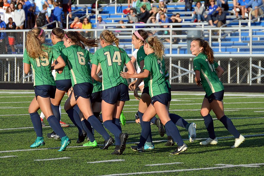 The women's soccer team takes the pitch during the Sectional title game against Bishop Chatard, a 3-1 Irish win.