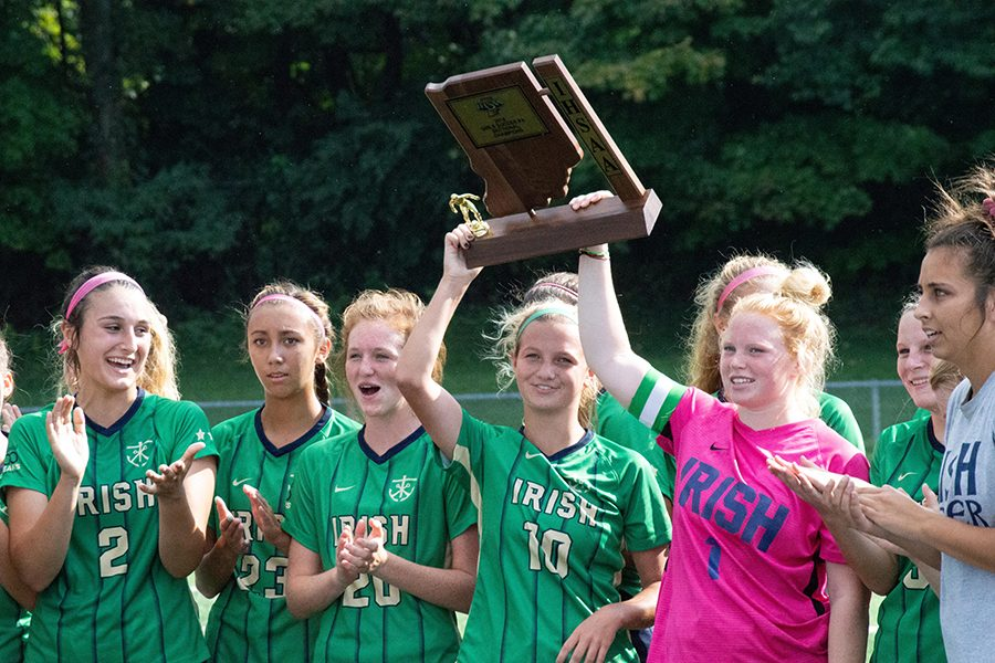 The women's soccer team hopes to add another trophy to this season when it plays for the Semistate title against Evansville Memorial on Oct. 20.
