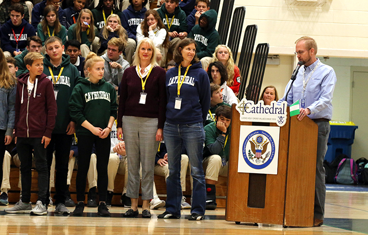 At the multicultural assembly on Oct. 15, German teacher Mr. Josh Payne-Elliott introduces teachers and students from Germany's Otto Hahn Gymnasium.