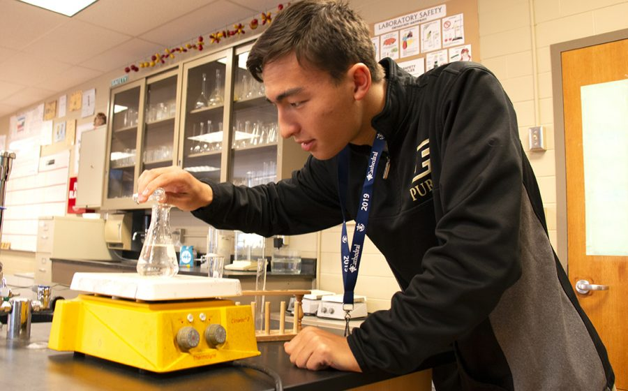 Senior Blake Lowe checks out results during his A period independent study chemistry class on Oct. 8.